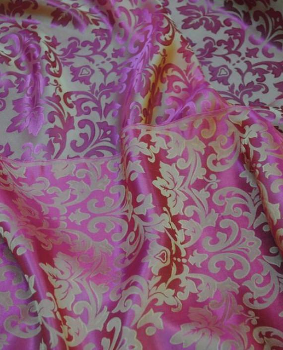 """Ткань Шелк Жаккард """"Розовые цветы"""" 0014 цвет розовый цветочный картинка 1"""