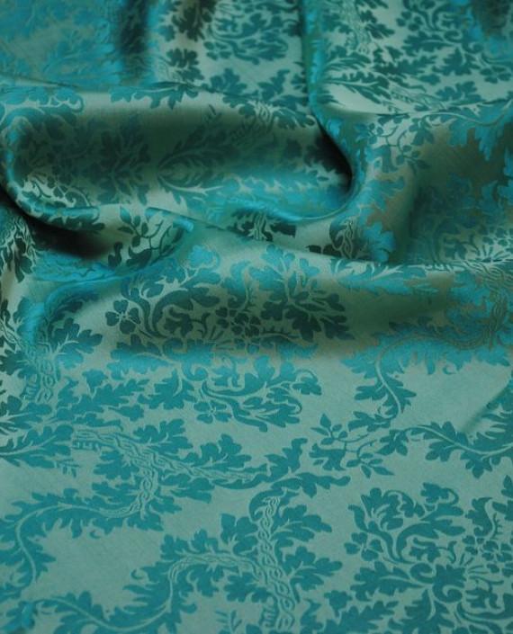 "Ткань Шелк Жаккард ""Клевер"" 0016 цвет бирюзовый абстрактный картинка 1"