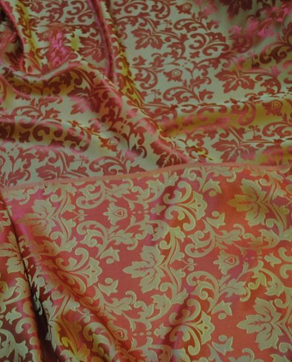 """Ткань Шелк Жаккард """"Золото на красном"""" 0020 цвет красный цветочный картинка"""