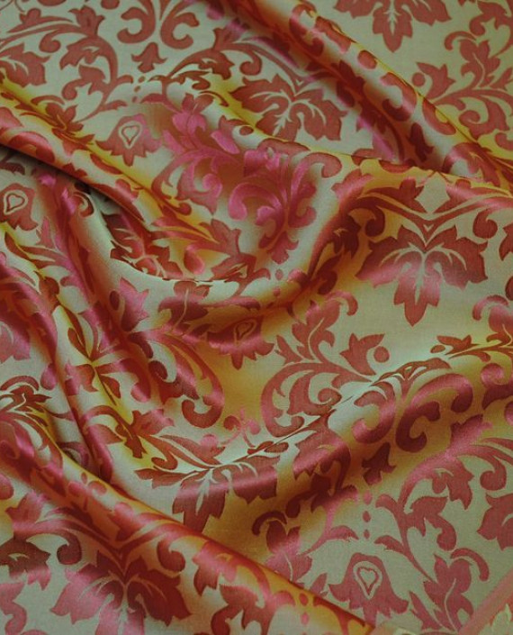 """Ткань Шелк Жаккард """"Золото на красном"""" 0020 цвет красный цветочный картинка 2"""