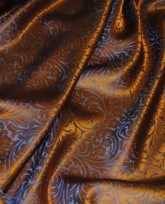 """Ткань Шелк Жаккард """"Серебро на оранжевом"""" картинка 4"""