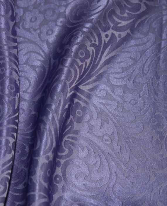 """Ткань Шелк Жаккард """"Аметистовый"""" 0024 цвет фиолетовый цветочный картинка 1"""