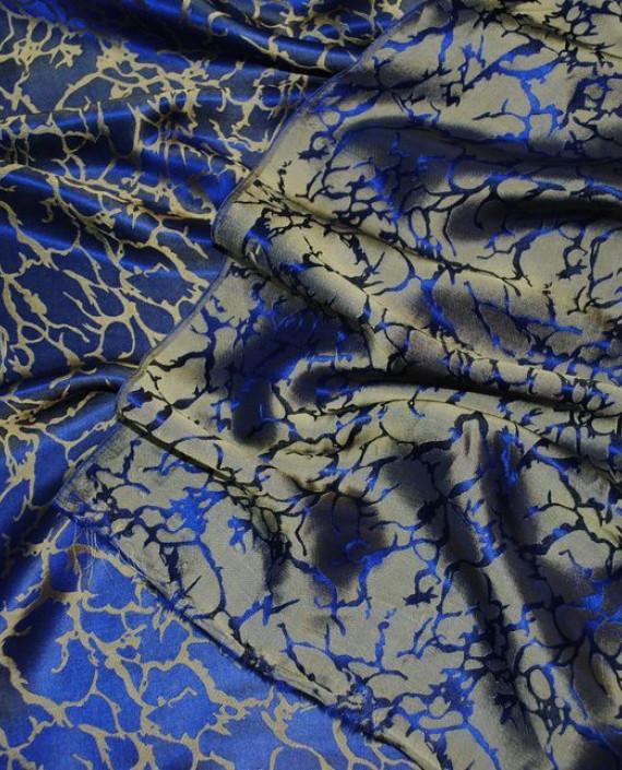 """Ткань Шелк Жаккард """"Кобальт и золото"""" 0028 цвет синий абстрактный картинка 2"""