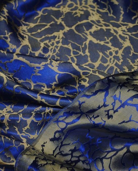 """Ткань Шелк Жаккард """"Кобальт и золото"""" 0028 цвет синий абстрактный картинка 5"""