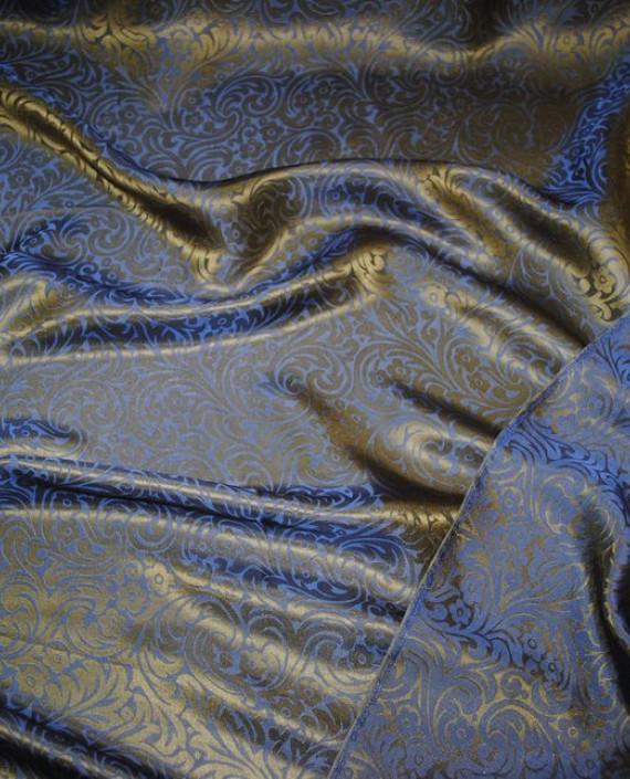 """Ткань Шелк Жаккард """"Синяя сталь"""" 0030 цвет синий цветочный картинка 1"""
