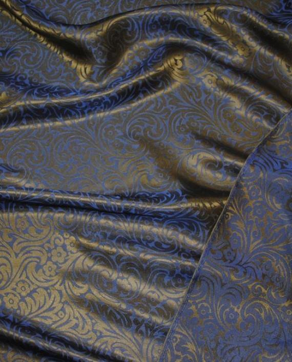 """Ткань Шелк Жаккард """"Синяя сталь"""" 0030 цвет синий цветочный картинка 2"""