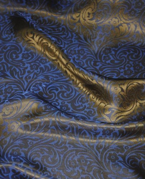 """Ткань Шелк Жаккард """"Синяя сталь"""" 0030 цвет синий цветочный картинка"""