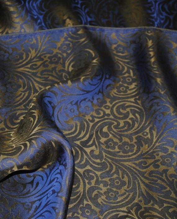 """Ткань Шелк Жаккард """"Синяя сталь"""" 0030 цвет синий цветочный картинка 3"""