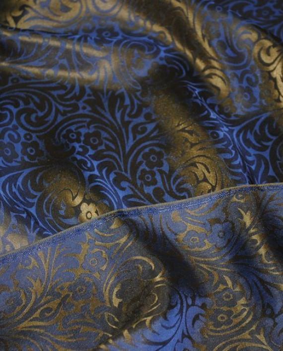 """Ткань Шелк Жаккард """"Синяя сталь"""" 0030 цвет синий цветочный картинка 4"""