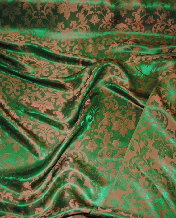 """Ткань Шелк Жаккард """"Зелень"""" 0021 цвет зеленый абстрактный картинка"""
