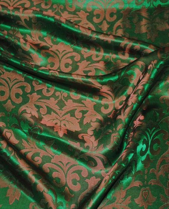 """Ткань Шелк Жаккард """"Зелень"""" 0021 цвет зеленый абстрактный картинка 4"""