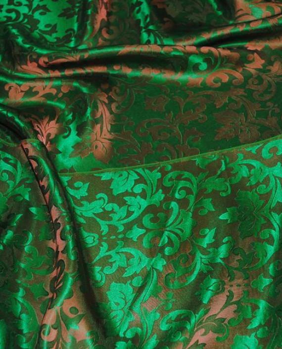 """Ткань Шелк Жаккард """"Зелень"""" 0021 цвет зеленый абстрактный картинка 3"""