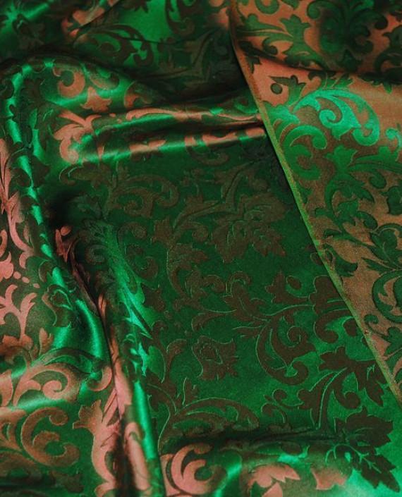 """Ткань Шелк Жаккард """"Зелень"""" 0021 цвет зеленый абстрактный картинка 1"""
