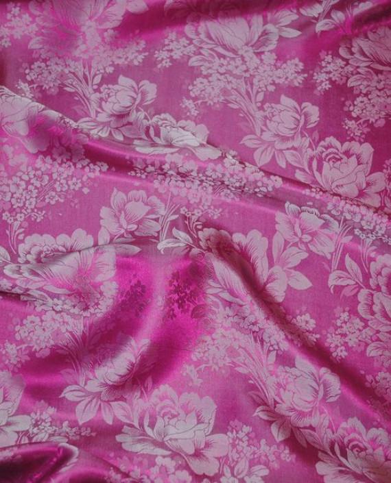 """Ткань Шелк Жаккард """"Цветы на розовом"""" 0031 цвет розовый цветочный картинка"""