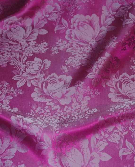 """Ткань Шелк Жаккард """"Цветы на розовом"""" 0031 цвет розовый цветочный картинка 4"""