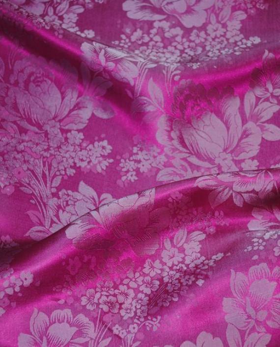 """Ткань Шелк Жаккард """"Цветы на розовом"""" 0031 цвет розовый цветочный картинка 3"""