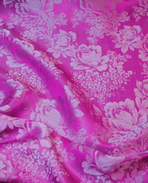 """Ткань Шелк Жаккард """"Цветы на розовом"""" 0031 цвет розовый цветочный картинка 2"""