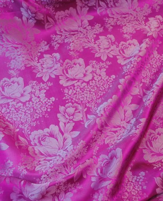 """Ткань Шелк Жаккард """"Цветы на розовом"""" 0031 цвет розовый цветочный картинка 1"""