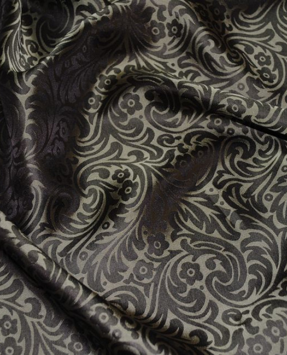 "Ткань Шелк Жаккард ""Орнамент"" 0032 цвет коричневый цветочный картинка 3"