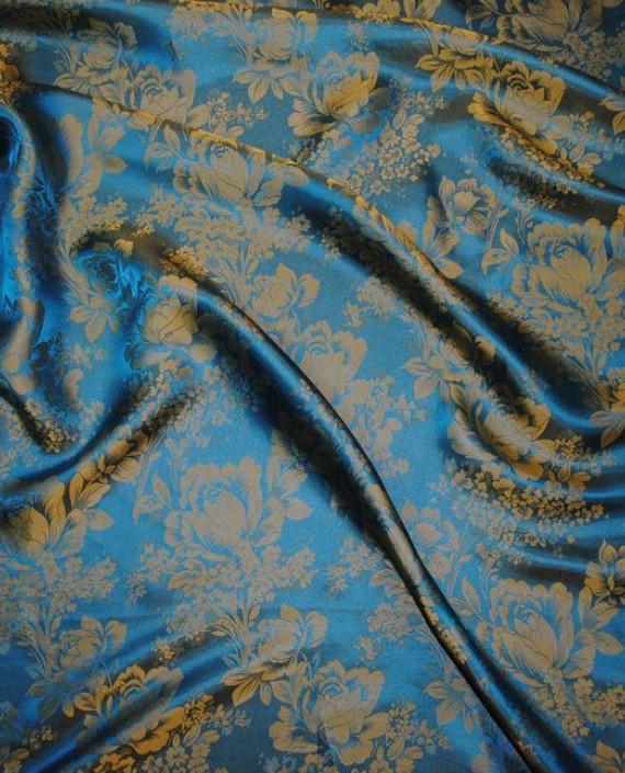 """Ткань Шелк Жаккард """"Цветы индиго""""  0036 цвет серебро цветочный картинка"""