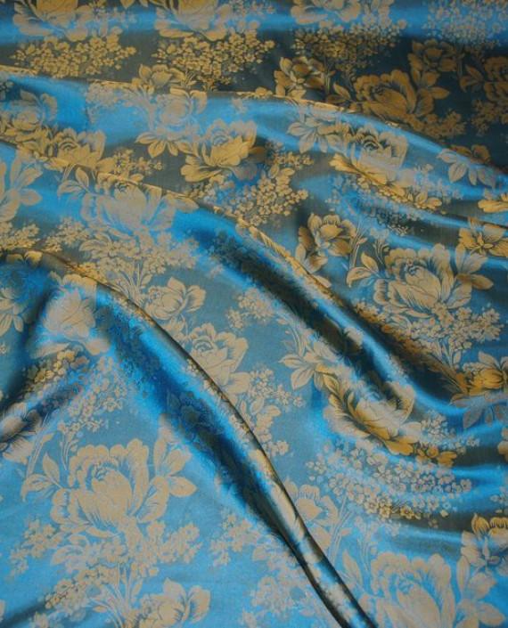 """Ткань Шелк Жаккард """"Цветы индиго""""  0036 цвет серебро цветочный картинка 2"""