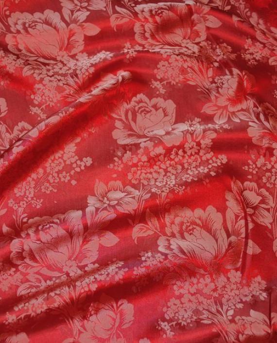 """Ткань Шелк Жаккард """"Красные цветы""""  0039 цвет красный цветочный картинка"""
