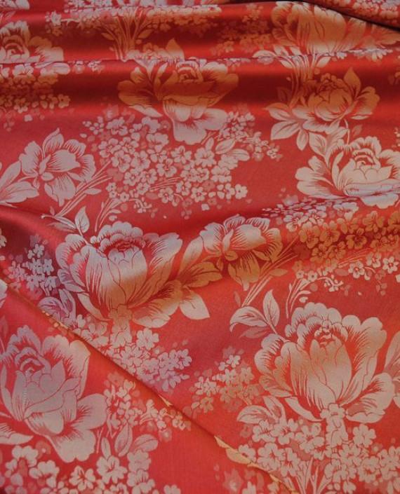 """Ткань Шелк Жаккард """"Красные цветы""""  0039 цвет красный цветочный картинка 1"""