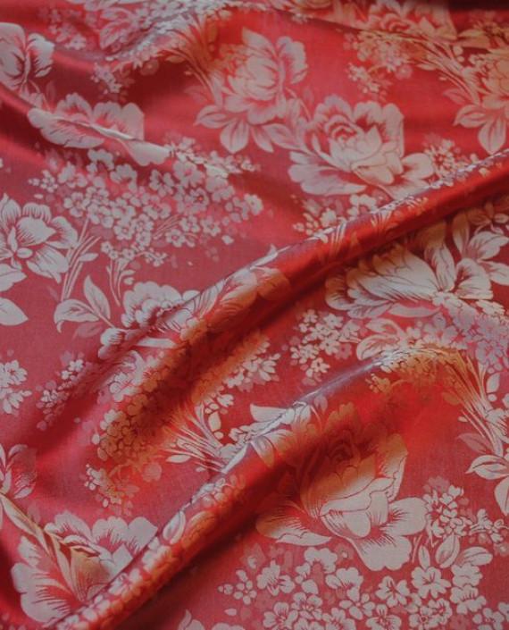 """Ткань Шелк Жаккард """"Красные цветы""""  0039 цвет красный цветочный картинка 2"""