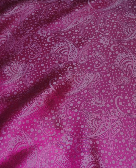 "Ткань Шелк Жаккард ""Огурцы""  0040 цвет малиновый абстрактный картинка"