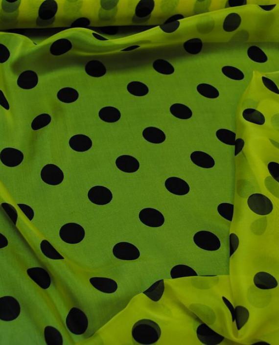 "Ткань Шелк Шифон ""Горохи на желтом"" 0043 цвет желтый в горошек картинка 4"