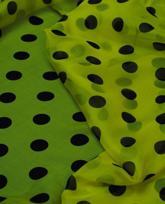 "Ткань Шелк Шифон ""Горохи на желтом"" 0043 цвет желтый в горошек картинка 3"