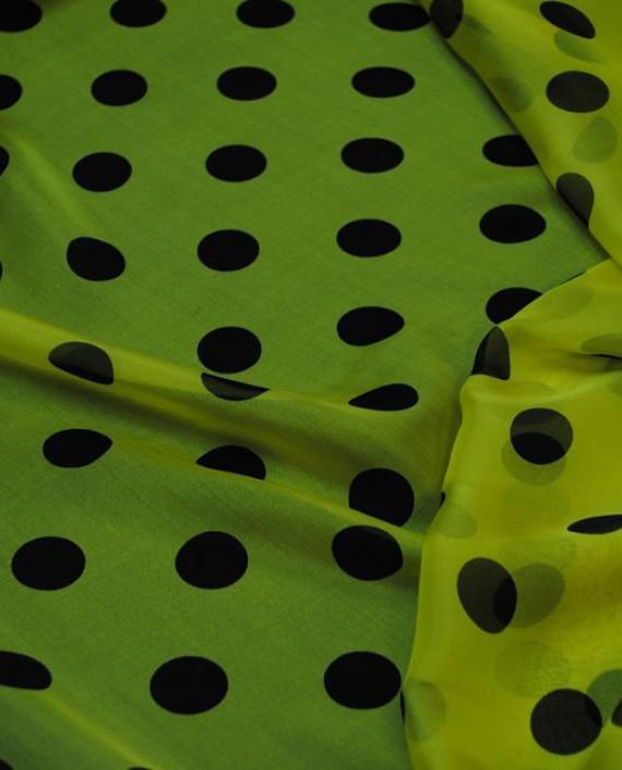 "Ткань Шелк Шифон ""Горохи на желтом"" 0043 цвет желтый в горошек картинка 2"