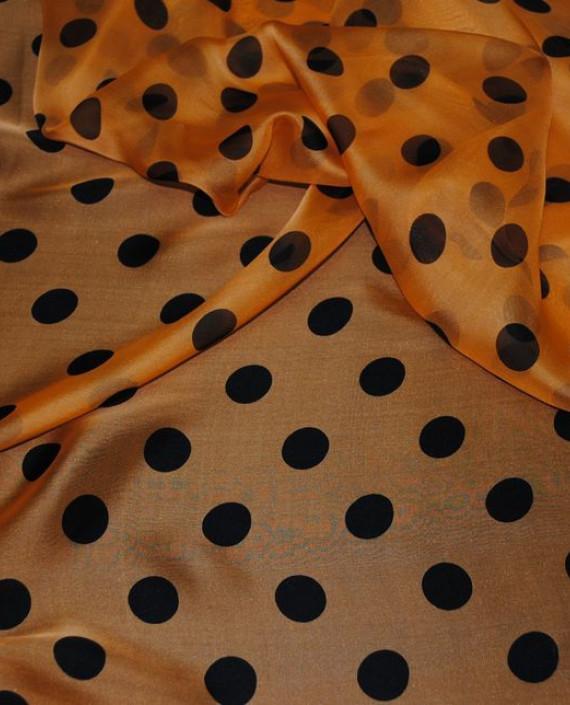 """Ткань Шелк Шифон """"Горохи на оранжевом"""" 0044 цвет оранжевый в горошек картинка"""