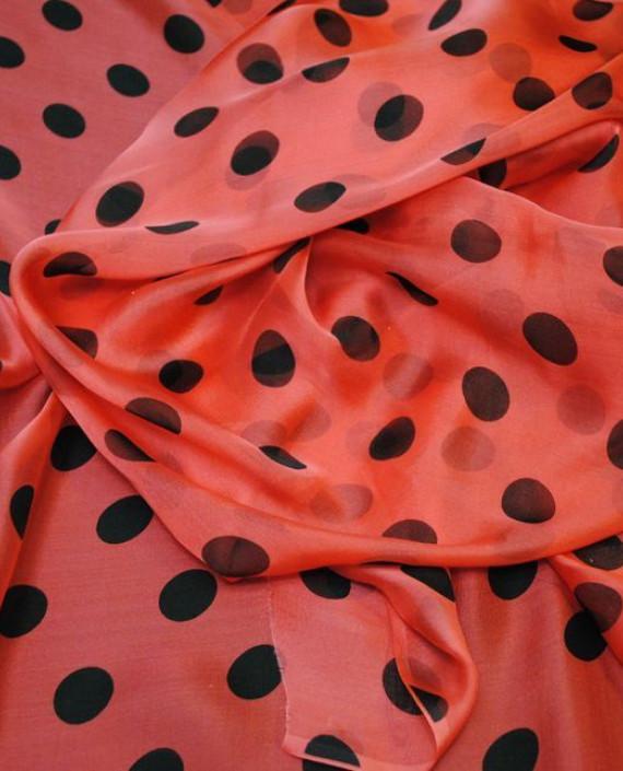 """Ткань Шелк Шифон """"Горохи на малиновом"""" 0046 цвет розовый в горошек картинка 1"""