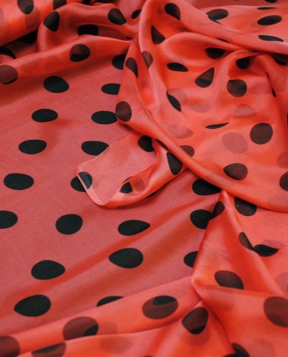 """Ткань Шелк Шифон """"Горохи на малиновом"""" 0046 цвет розовый в горошек картинка 2"""