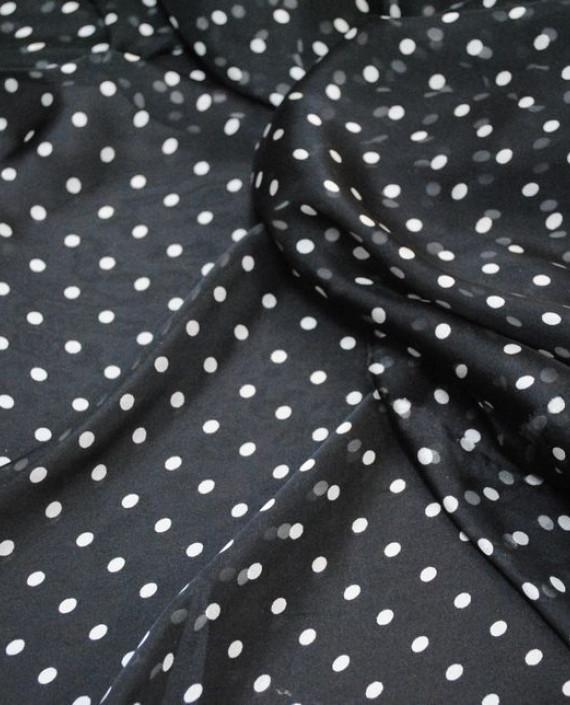 """Ткань Шелк Шифон """"Мелкие горохи на черном"""" 0050 цвет черный в горошек картинка"""