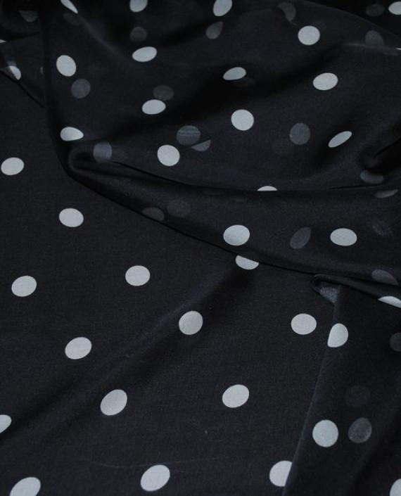 """Ткань Шелк Шифон """"Горохи на черном"""" 0052 цвет черный в горошек картинка"""