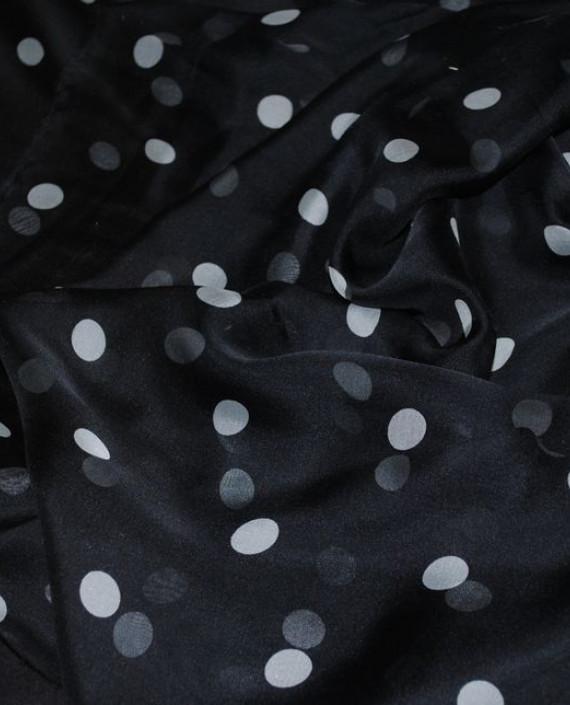 """Ткань Шелк Шифон """"Горохи на черном"""" 0052 цвет черный в горошек картинка 2"""