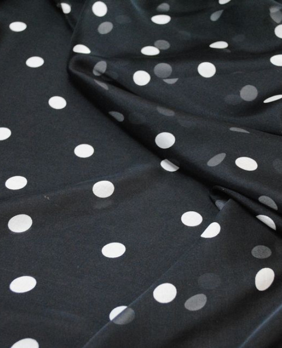 """Ткань Шелк Шифон """"Горохи на черном"""" 0052 цвет черный в горошек картинка 3"""