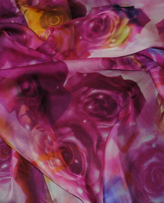 """Ткань Шелк Шифон """"Розы"""" 0054 цвет розовый цветочный картинка 2"""