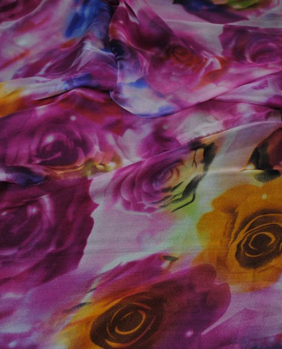 """Ткань Шелк Шифон """"Розы"""" 0054 цвет розовый цветочный картинка 1"""