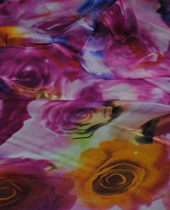 """Ткань Шелк Шифон """"Розы"""" 0054 цвет розовый цветочный картинка"""