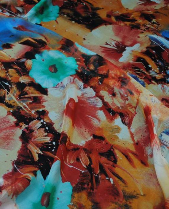 """Ткань Шелк Шифон """"Цветы"""" 0055 цвет разноцветный цветочный картинка 2"""
