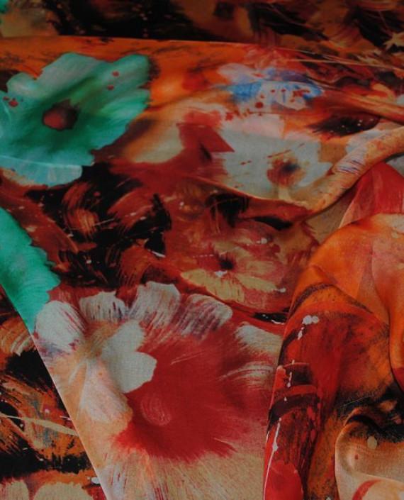 """Ткань Шелк Шифон """"Цветы"""" 0055 цвет разноцветный цветочный картинка 1"""