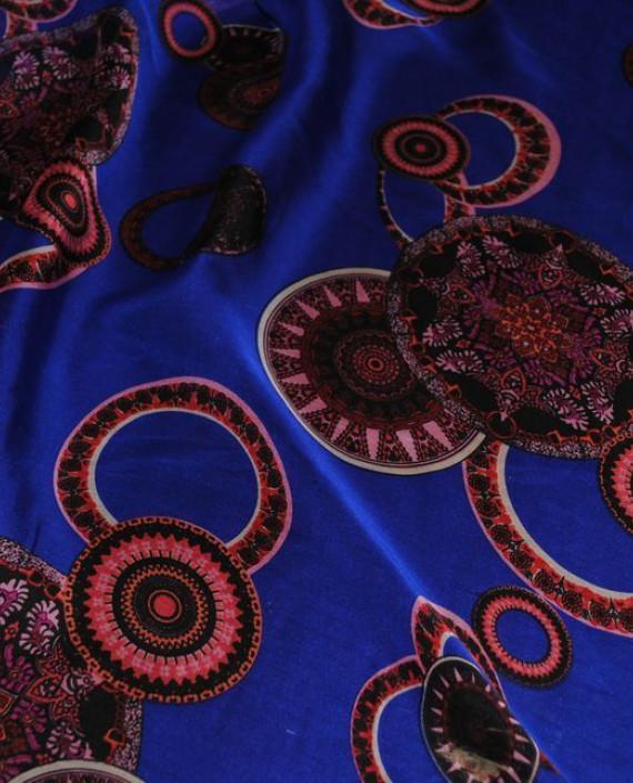 """Ткань Шелк Шифон """"Восточный рисунок на синем"""" 0056 цвет синий геометрический картинка 1"""
