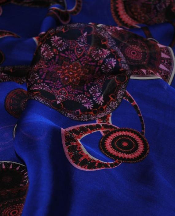 """Ткань Шелк Шифон """"Восточный рисунок на синем"""" 0056 цвет синий геометрический картинка 2"""