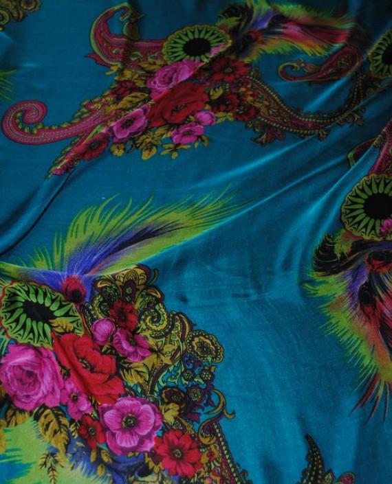 """Ткань Шелк Шифон """"Райский сад"""" 0057 цвет бирюзовый цветочный картинка"""