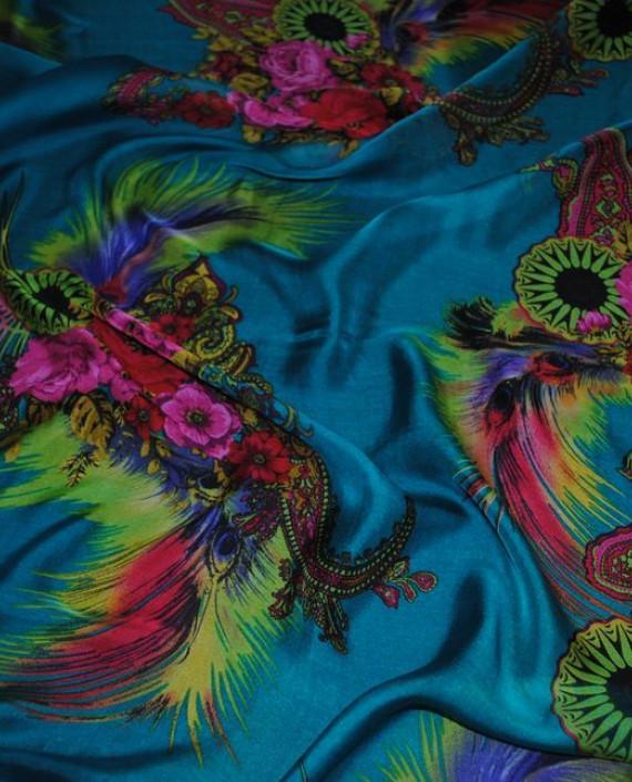 """Ткань Шелк Шифон """"Райский сад"""" 0057 цвет бирюзовый цветочный картинка 1"""