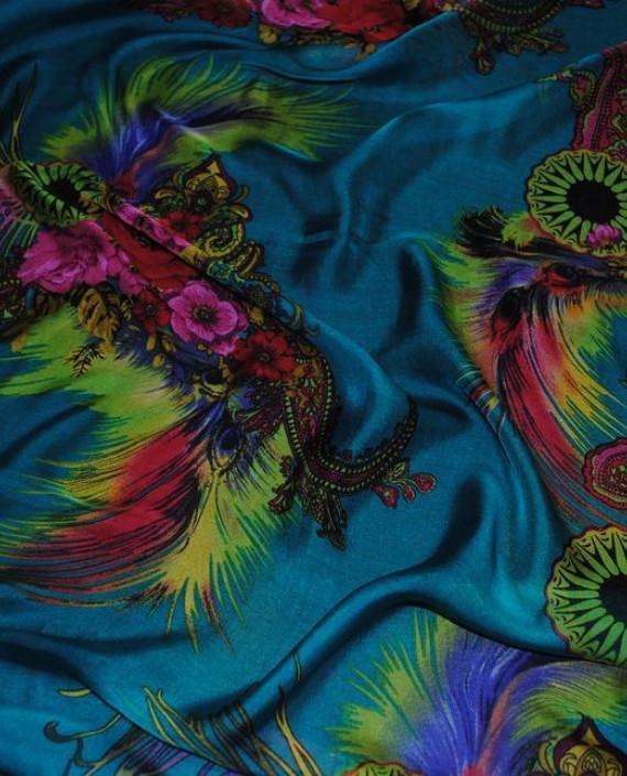 """Ткань Шелк Шифон """"Райский сад"""" 0057 цвет бирюзовый цветочный картинка 2"""