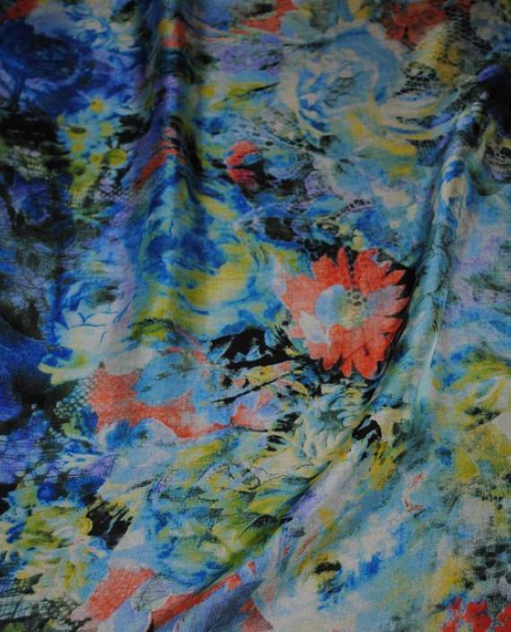 """Ткань Шелк Шифон """"Цветочная поляна"""" 0058 цвет разноцветный цветочный картинка"""